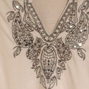 White Tunic with Embroidered Silver Trim
